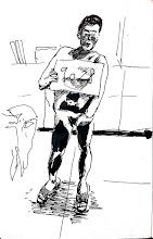 Photo: 傷2011.08.23鋼筆 收容人入監所都要脫光檢身,為了收容人隱私當然是不能拍照的,但這位收容人新收時就滿身是傷,為了慎重起見,負責檢身的同仁在白紙上寫上刑號並拍照存檔,以免日後被投訴傷是在監內被打的,有時人權跟管理,真是兩難的事啊!唉!