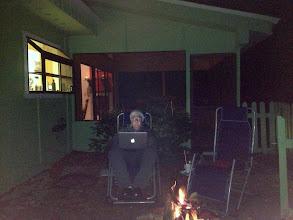 Photo: Stephen at the backyard campfire