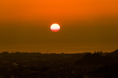 松山城 夕日