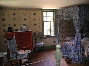 Photo: Parsonage, the parents' bedroom, with stenciled walls