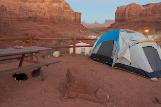 Photo: Our campsite just outside--featuring cats!-- of Monument Valley Navajo Tribal Park, Arizonia and Utah, USA