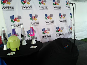 Photo: Our stage setup.  Lava Lamps and Android!