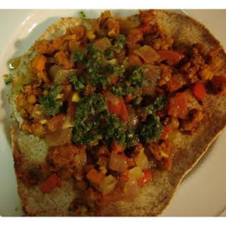 """Vegetarian """"dosas"""" With Curried Chickpeas and Mint Chutney!."""