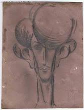 Photo: Автошарж Виктора Некрасова,  карандаш, фотобумага, 18,5 х 24 см, 1930-е