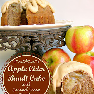 Apple Cider Spice Cake with Caramel Cream Cheese Frosting.