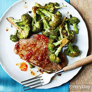 Sesame-Ginger Pork Chops and Broccoli.