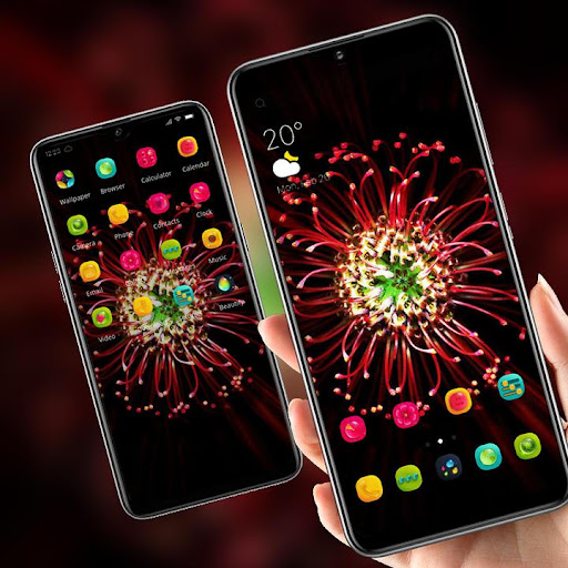 Red glowing full bloom flower theme 2.0.50 screenshots 4