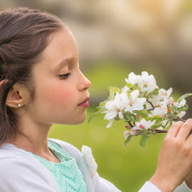 Smell the Flowers by Sue Matsunaga - Babies & Children Child Portraits