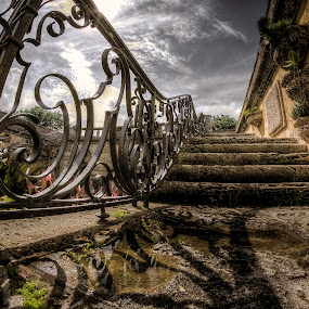 Last Steps by Nemanja Stanisic - Buildings & Architecture Public & Historical ( old house, old, vizcaya, building, vintage, soul, stone, architecture, museum, steps, fence, stairs, stairway, monument, historical, puddle, , Architecture, Building, Buildings, Exterior, Exteriors, Interior, Interiors, Space, Spaces, HDR, Landmark, Landmarks, Engineering, Tilt Shift, Tiltshift )
