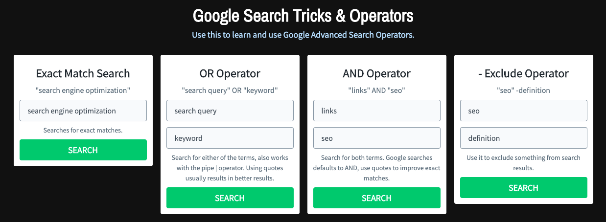 google search tricks and operators
