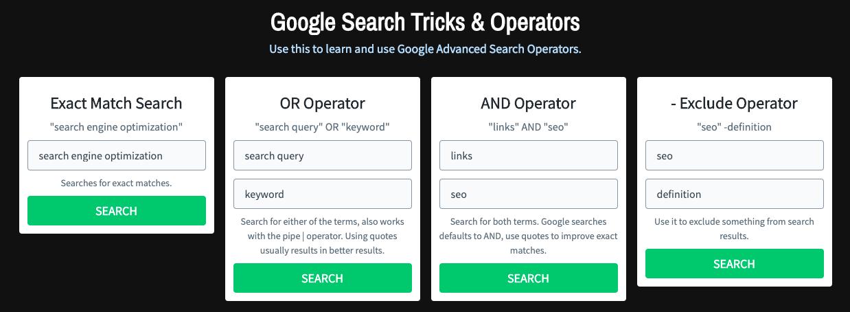google search tricks and operators