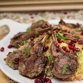 Pan-Seared Lamb Chops Over Roasted Spaghetti Squash w Pomegranate + Aged Balsamic.