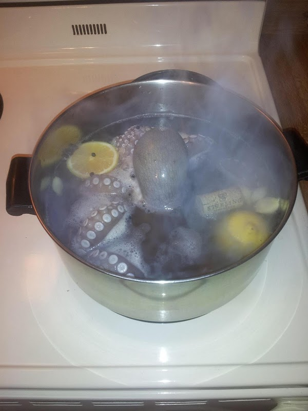Put first six ingredients in a large pot, suitable to the size of octopus...