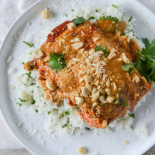 Salmon with Thai Curry Peanut Sauce and Coconut Cilantro Rice.