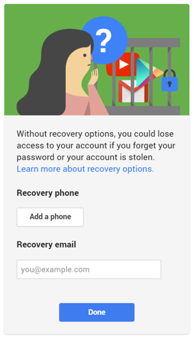 Account Recovery interstitial page