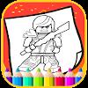 Art Legoe Coloring Page Ninja go Cartoon Icon