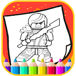 Art Legoe Coloring Page Ninja go Cartoon Icon