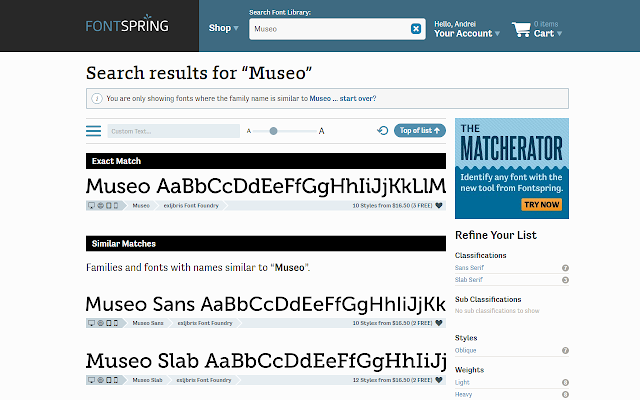 FontSpring Search