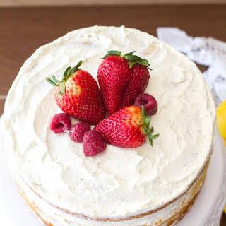 Berry Vanilla Naked Cake with Lemon Whipped Cream.