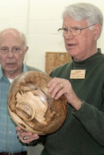 Photo: Gary discusses his large red maple bowl.