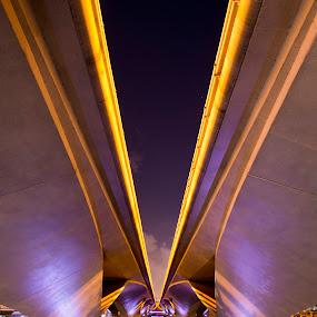 Under the Bridge by Joydeep Sen Chaudhuri - Buildings & Architecture Bridges & Suspended Structures ( illuminated, bridge, architecture, city )