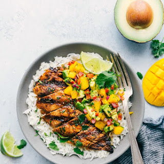 Cilantro-Lime Chicken with a Mango Avocado Salsa Recipe
