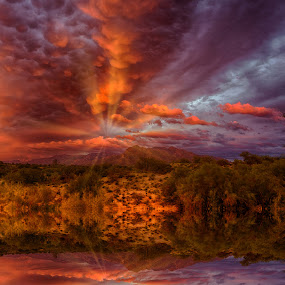 Weather by Charlie Alolkoy - Landscapes Weather ( reflection, mountain, weather, landscape, rays )