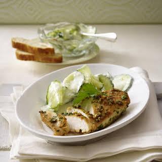 Garlic Chicken with Cucumber Salad.