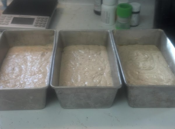 Divide and pour into 3 loaf pans.