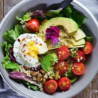 Poached Egg & Avocado Breakfast Salad.