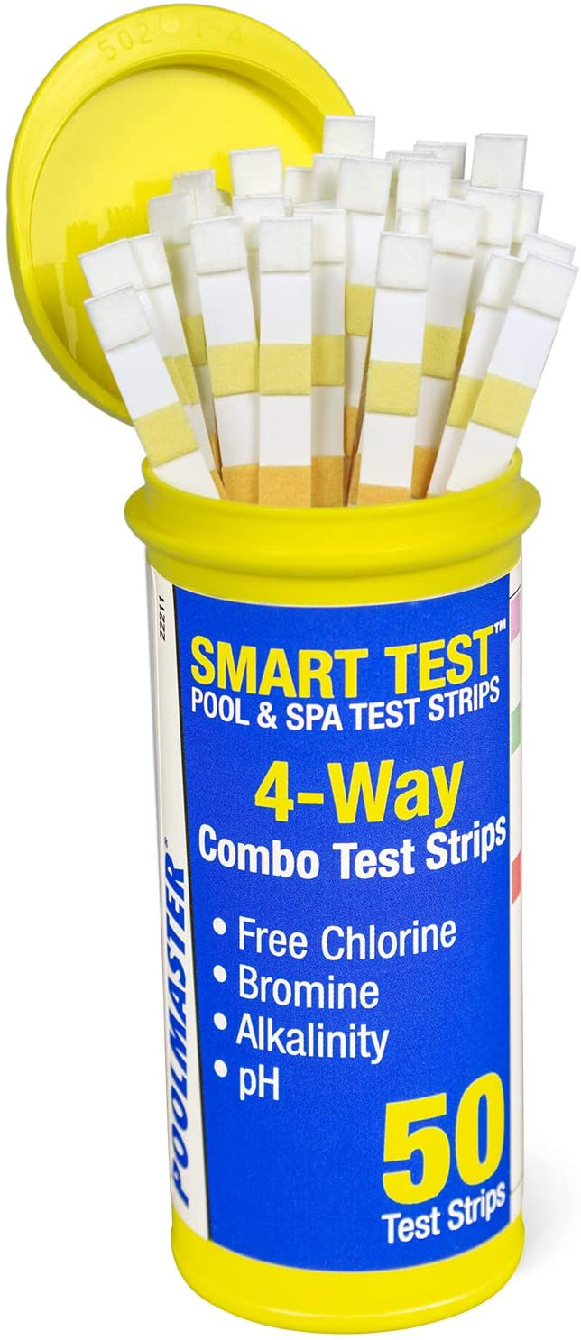 a yellow bottle of 50 Poolmaster Smart 4-way combo pool chemical test strips