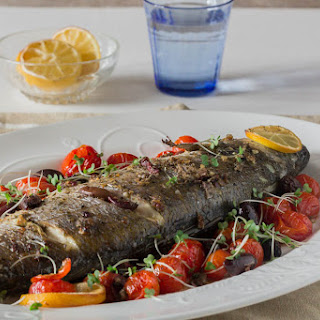 Whole Baked Sea Bass with Olives and Tahini Sauce Recipe