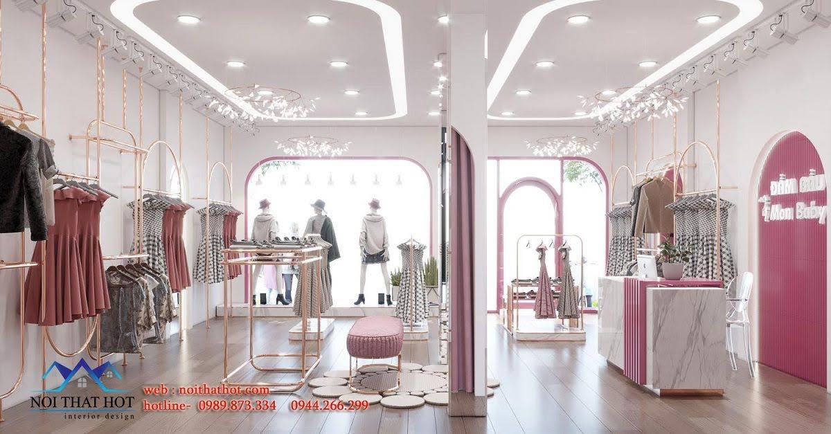 thiết kế cửa hàng đầm bầu