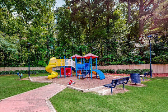 Playground with slides and climbing areas