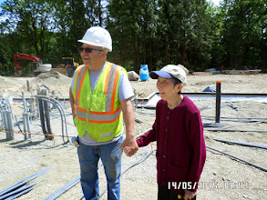 Photo: HELEN WITH DENNIS THE SITE MANAGER