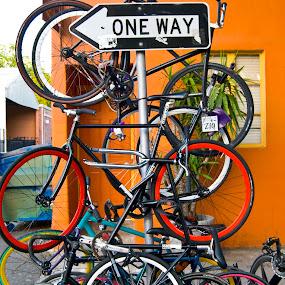 Which way? by Kati Garner - Transportation Bicycles ( sign, bicycles, one-way, tires, transportation )