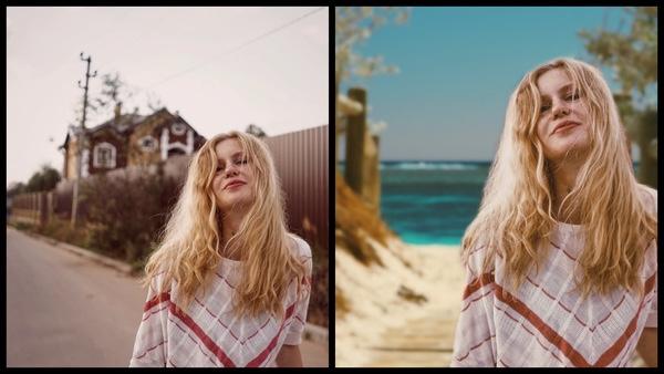 antes e depois da foto de uma mulher loira sendo que em uma o fundo está editado