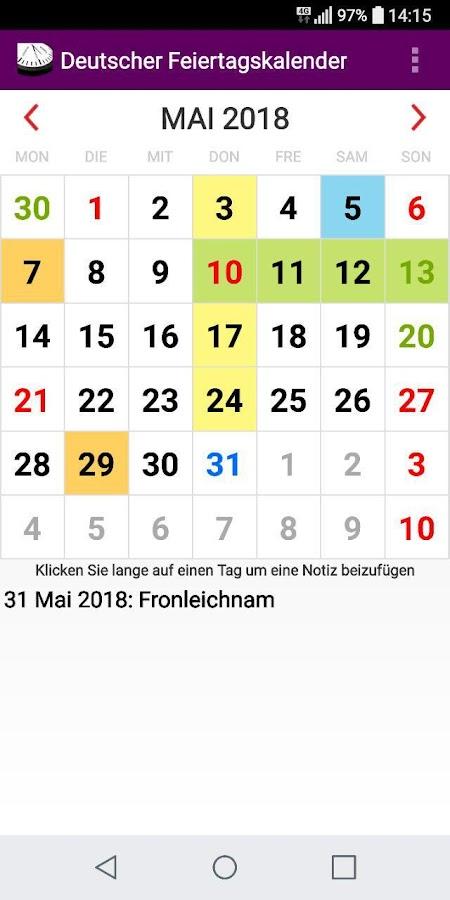 deutschland kalender 2018 bundesweite feiertage android. Black Bedroom Furniture Sets. Home Design Ideas