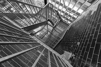 """Photo: Sometimes Stairs Can be Beautiful Too (II)  I've done the unthinkable with this shot; I've un-fisheyed a fisheye shot. The previous image from here yielded a nice fishy look (see: http://www.iambidong.com/2011/06/sometimes-stairs-can-be-beautiful.html).  Tonight is the night! Pop by the """"Our Toronto"""" gallery exhibition opening night at 44 Wide in Liberty Village -- I have a couple of images hanging!"""