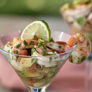 Seviche Shrimp And Avocado Tacos.