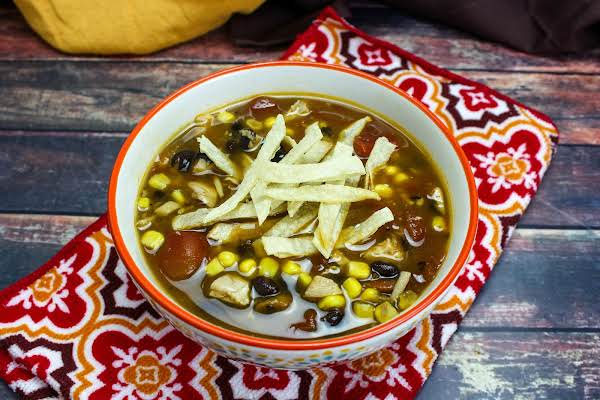 A Bowl Of Instant Pot Mexican Chicken Tortilla Soup.