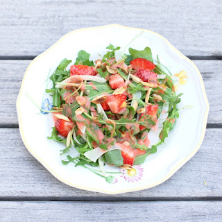Strawberry Arugula Salad with Fennel, Toasted Almonds, and Strawberry Champagne Vinaigrette.