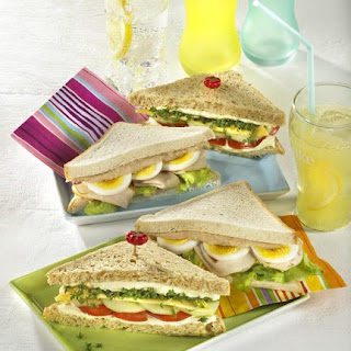 Egg, Turkey and Tuna Sandwich & Cheese Salad Sandwich.