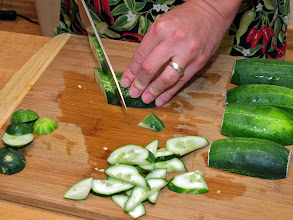 Photo: slicing pickling cucumbers for a stir-fry
