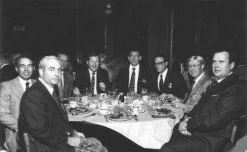 Photo: Charlie Hobbs, George Carscallen, Don McKeen, Al Oakes, Dalton McIntyre (Mtl), Lorne Wilson, Jake Klassen, Bev Neil (Mtl)
