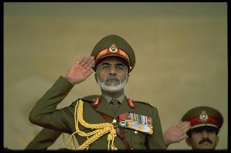 Photo: Original caption: Sultan Qaboos Bin Said during a military parade for the 27th national holiday. November 19, 1997 SALALAH, DHOFAR, Oman