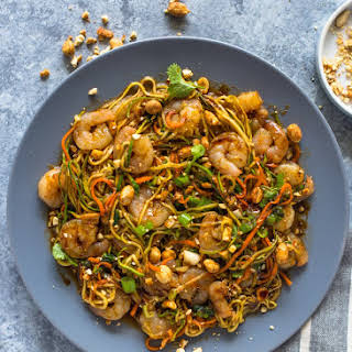 10 Minute Low-Carb Shrimp Zoodle Pad Thai.