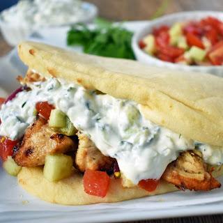 Greek Chicken Gyros with Tzatziki Sauce.