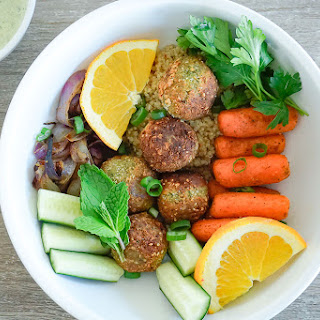 Warm Homemade Falafel Bowl with Toasted Pumpkin Seed Yogurt Sauce