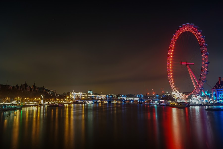 London Eye by Zisimos Zizos - Landscapes Waterscapes ( london eye, night photography, london, long exposure, nightscape )